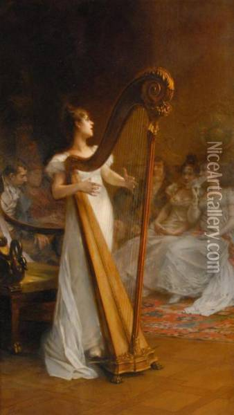 Young Woman Playing Harp Oil Painting - Frederick Hendrik Kaemmerer