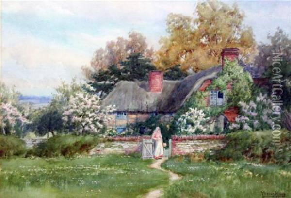 A Cottage In Surrey Oil Painting - Henry John Yeend King