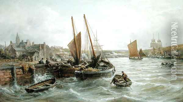 Fishing Boats in Peel Harbour, Isle of Man, 1893 Oil Painting - William Edward Webb