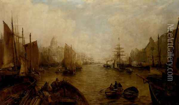Shipping on the Thames Oil Painting - William Edward Webb