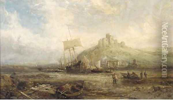 Beached fishing vessels below a ruined castle Oil Painting - William Edward Webb