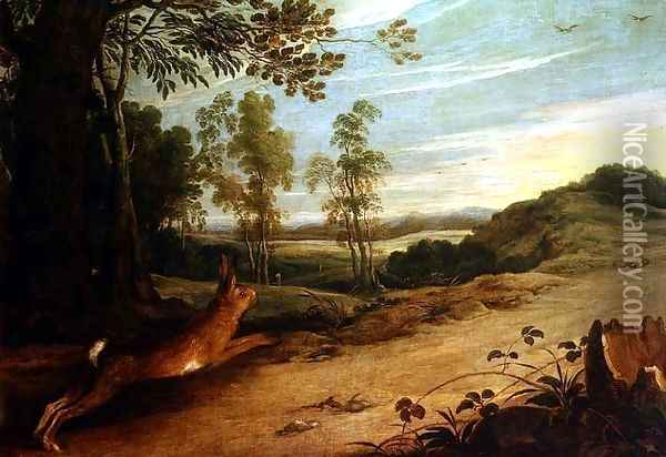 The Tortoise and the Hare, from Aesops Fables Oil Painting - Jan Wildens