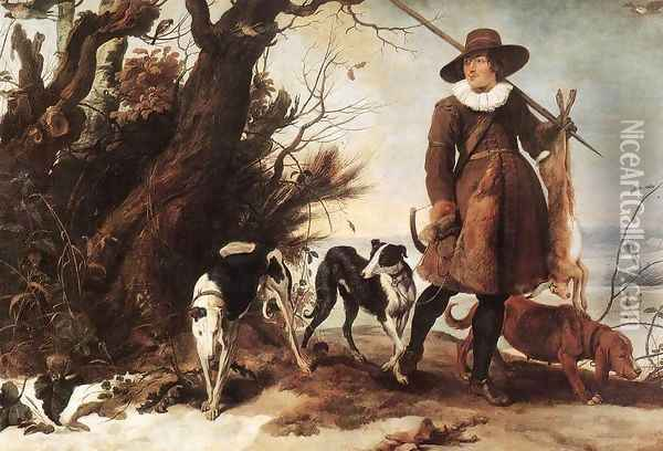 Winter Landscape with a Hunter 1624 Oil Painting - Jan Wildens