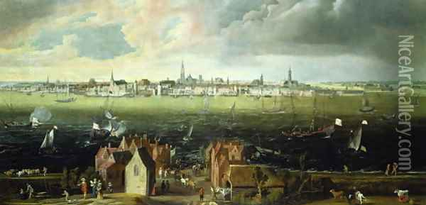 View of Antwerp from the River Schelde Oil Painting - Jan Wildens