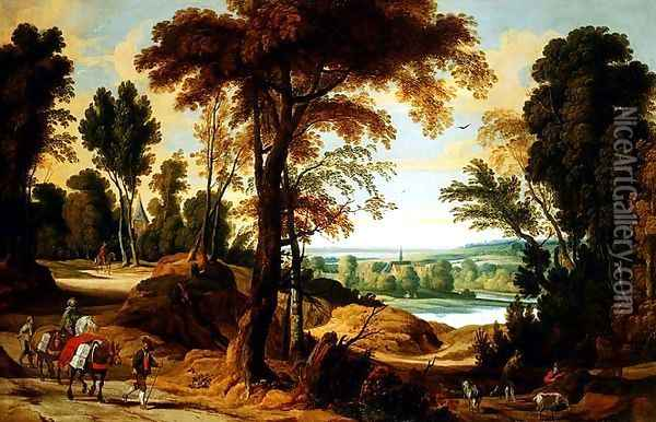 A wooded river landscape with figures on a road Oil Painting - Jan Wildens