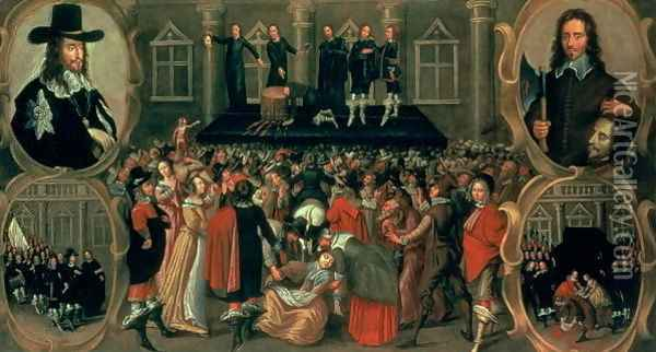 An Eyewitness Representation of the Execution of King Charles I (1600-49) of England, 1649 Oil Painting - John Weesop
