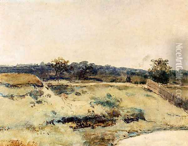 A Summer Landscape With Figures On A Path Oil Painting - Jan Hendrik Weissenbruch