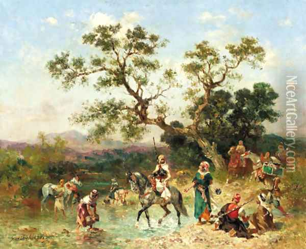 Oasis with Arabian horsemen Oil Painting - Georges Washington