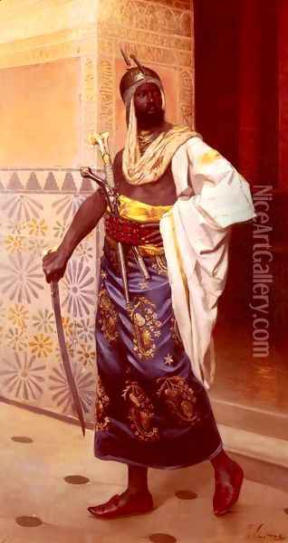 A Nubian Guard Oil Painting - Rudolphe Weisse