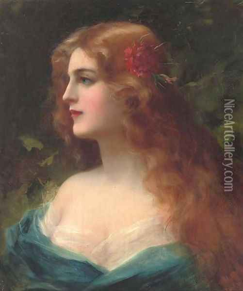 A red-haired beauty Oil Painting - Rudolphe Weisse