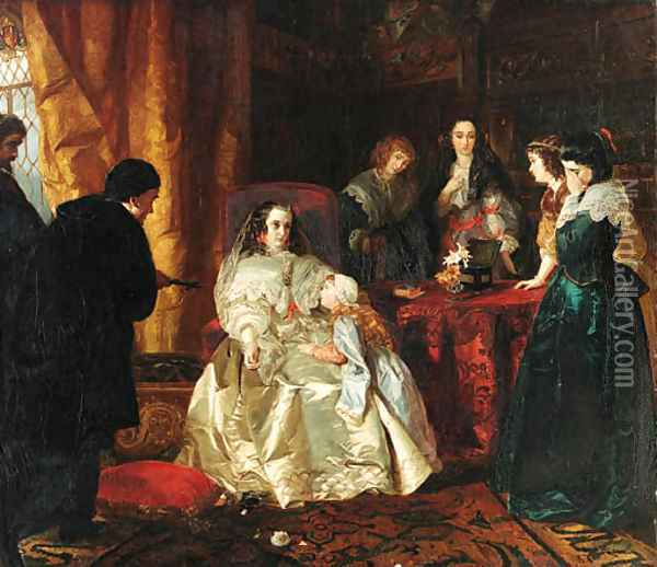 The despair of Henrietta Maria over the death of her husband King Charles I Oil Painting - Henrietta Mary Ward
