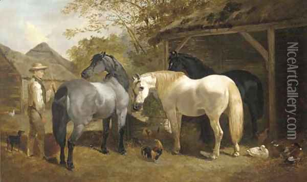 A farmhand, horses, chickens and ducks in a farmyard Oil Painting - Henry Woollett