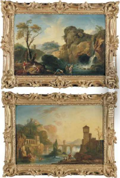 Bathers Frolicking Along A  Riverbank With A Bridge And A Fortress Beyond; Bathers Frolicking By A  Waterfall Oil Painting - Charles Francois Lacroix de Marseille