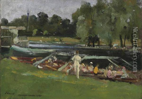 Boating At Remenham Oil Painting - John Lavery