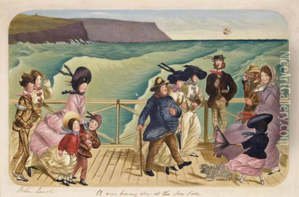 A Nice Bracing Day At The Sea Side Oil Painting - John Leech