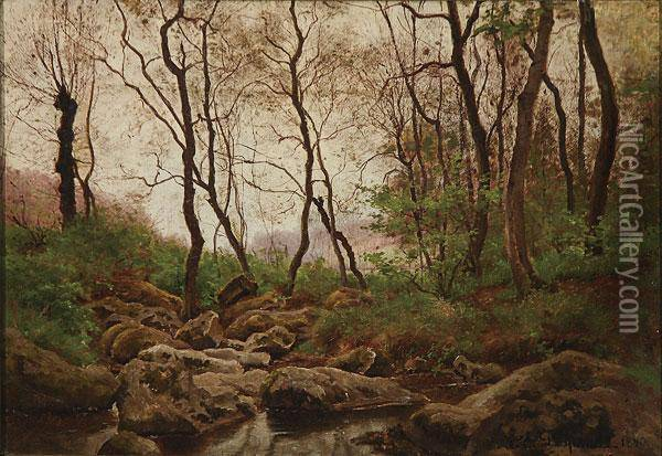 Wooded Landscape With Stream- 1890 Oil Painting - Theodore Lespinasse
