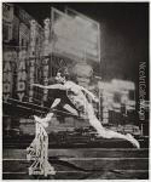 Runner In The City Oil Painting - Eliezer Markowich Lissitzky