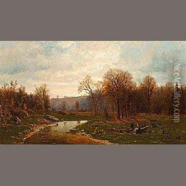 Figures By A River In An Autumnal Landscape Oil Painting - Jervis McEntee