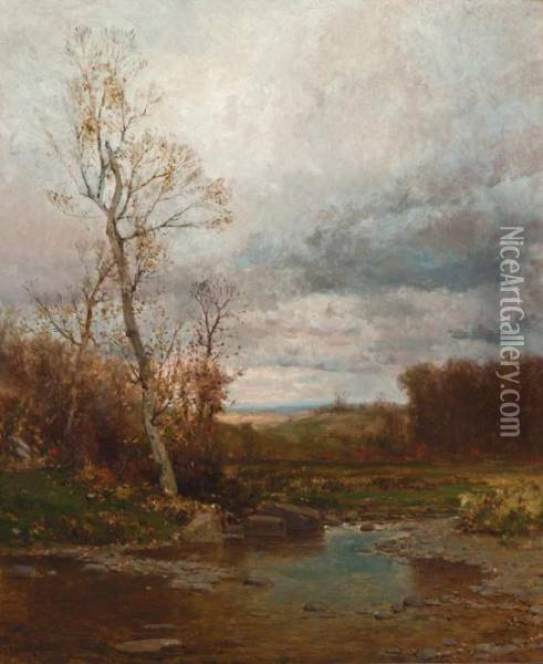 Rocky Stream In Autumn Oil Painting - Jervis McEntee