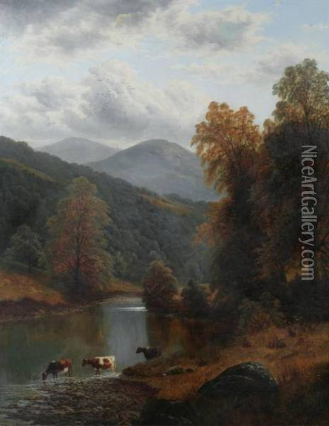 Cattle Drinking At Mountain Stream Oil Painting - William Mellor
