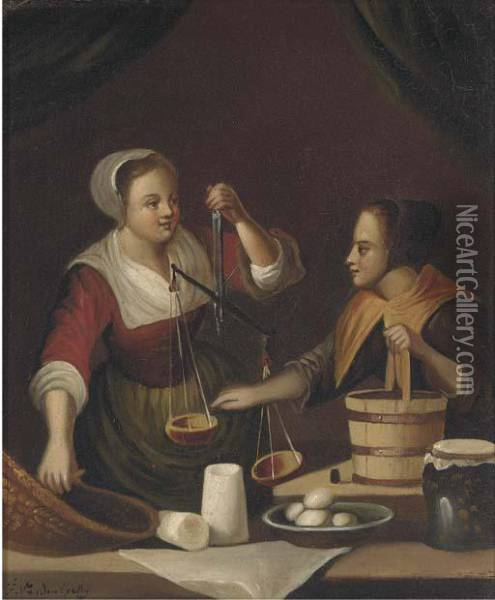 Balancing The Scales; And A Purchase From The Butcher Oil Painting - Gabriel Metsu