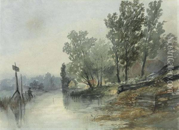 On The River At Thorpe, Norfolk Oil Painting - John Middleton