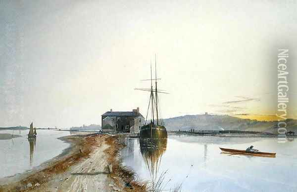 Turf on the Exe Oil Painting - George Whitaker