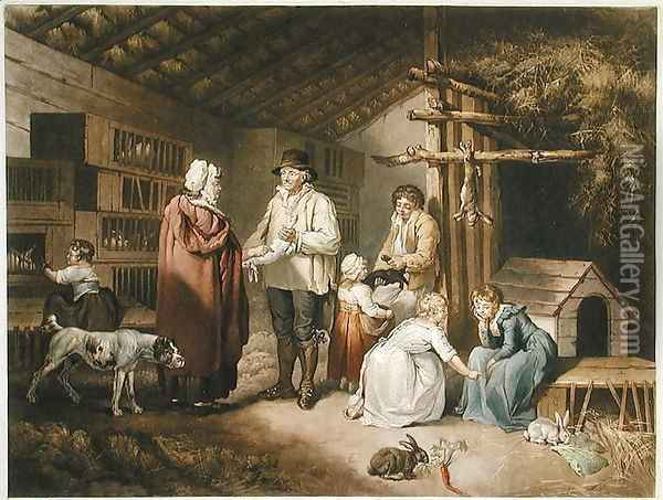 Selling Rabbits, engraved by William Ward (1766-1826) 1796 Oil Painting - James Ward