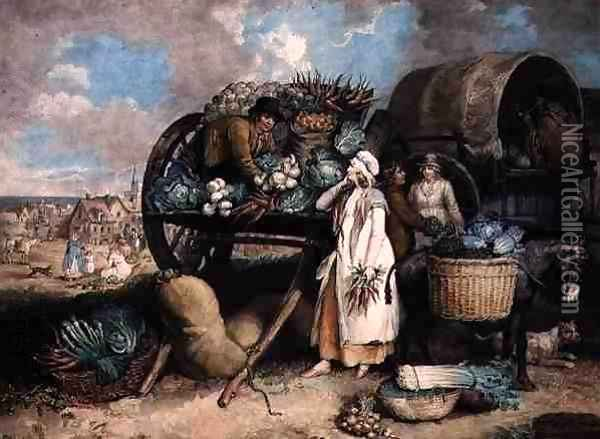 A Vegetable Market, engraved by William Ward (1766-1826), pub. by Messrs. Ward & Co., 1803 Oil Painting - James Ward