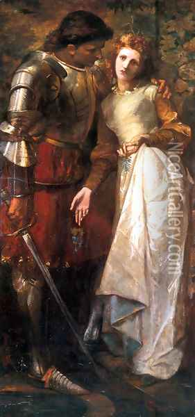 Ophelia and Laertes (or Ophelia here is Rosemary) Oil Painting - William Gorman Wills