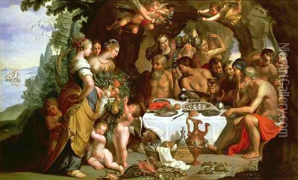 The Feast of Achelous, 1625-29 Oil Painting - Artus Wollfort