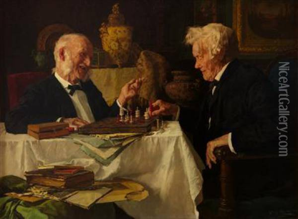 The Chess Game Oil Painting - Louis Charles Moeller