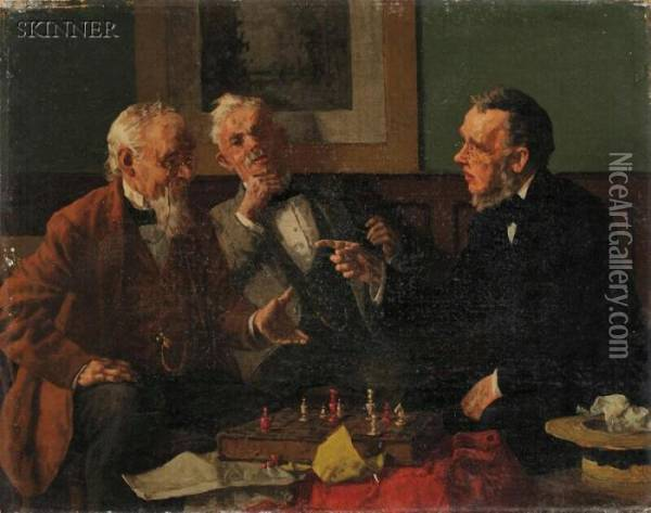 Game Of Chess Oil Painting - Louis Charles Moeller