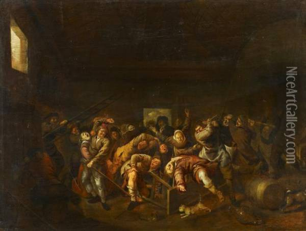 The Fight At The Inn Oil Painting - Jan Miense Molenaer