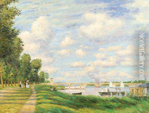 On The Seine Oil Painting - Claude Oscar Monet