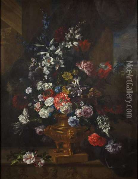 Still Life Of Flowers In A Footed Urn Oil Painting - Jean-Baptiste Monnoyer