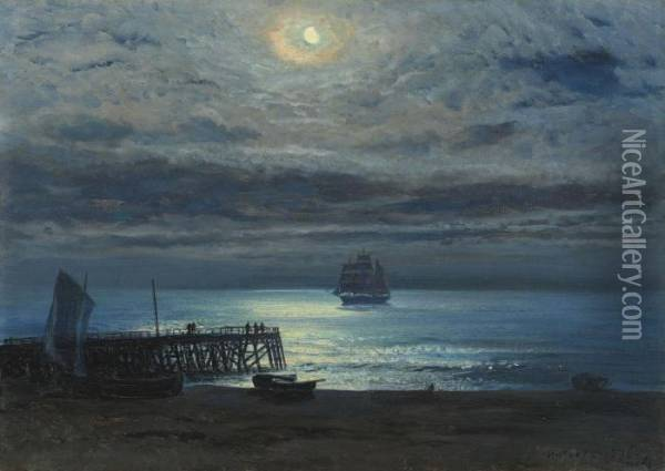 Ship On A Moonlit Sea - Yarmouth Jetty Oil Painting - Henry Moore
