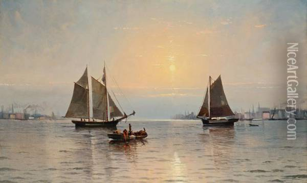 New York Harbor Oil Painting - Edward Moran