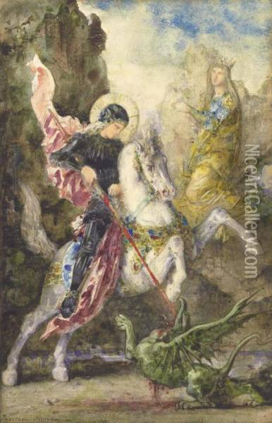 St. George And The Dragon Oil Painting - Gustave Moreau