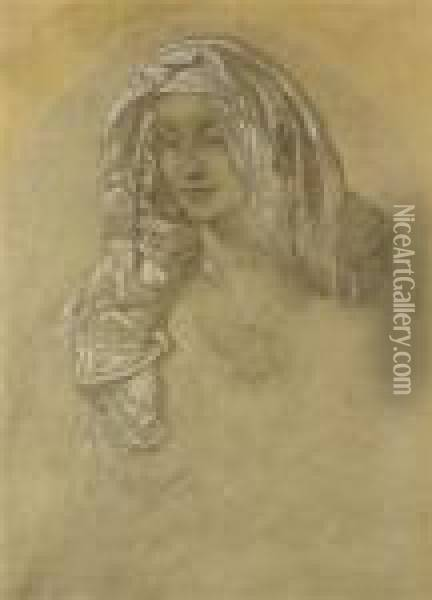 A Portrait Of A Girl Oil Painting - Alphonse Maria Mucha