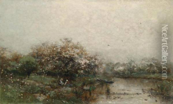 Two Women In A Blossoming Landscape With Pond Oil Painting - Ludwig Munthe