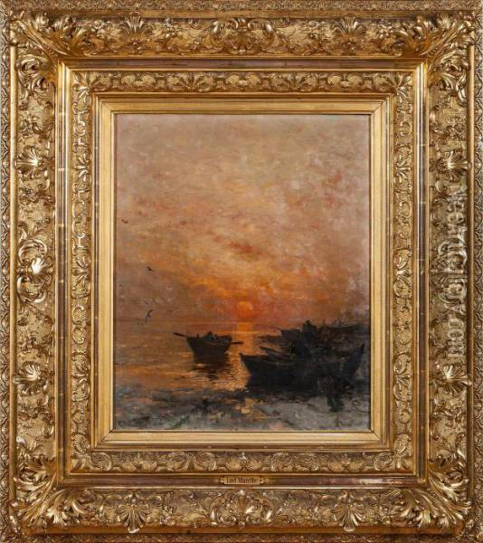 Sunset, Winter Oil Painting - Ludwig Munthe