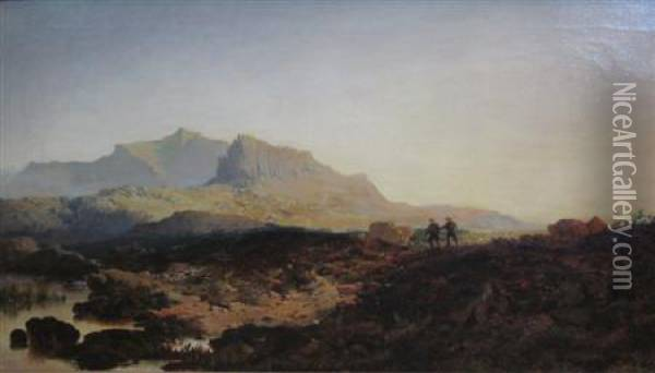 Cader Idris, Moorland Scene With Sportsmen On A Sunlit Path Oil Painting - Edmund John Niemann, Snr.