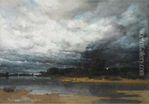 Approaching Storm On The Coast (possibly The Dnieper River) Oil Painting - Vladimir Donatovich Orlovskii