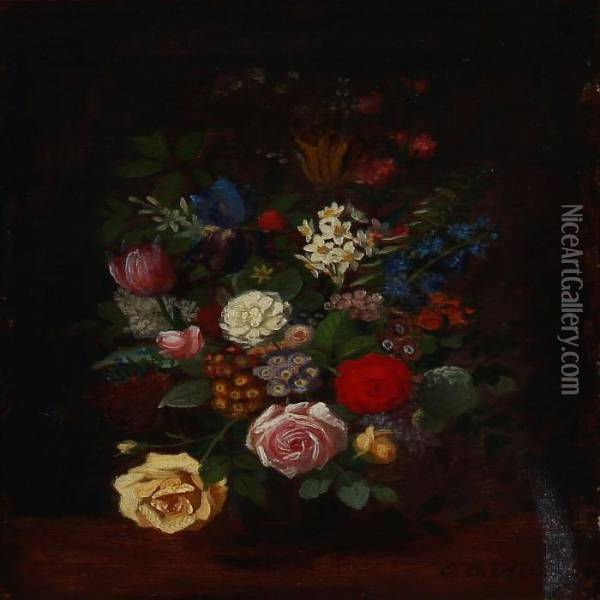 Still Life With Mixed Flowers In A Vase Oil Painting - Otto Didrik Ottesen