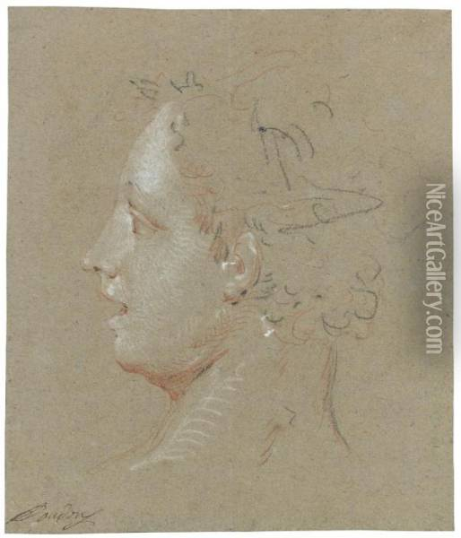 Head Of A Woman, Turned In Profile Oil Painting - Jean-Baptiste Oudry
