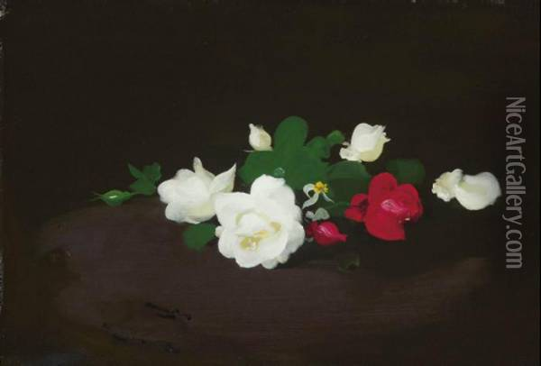 White And Pink Roses On A Round Table Oil Painting - James Stuart Park