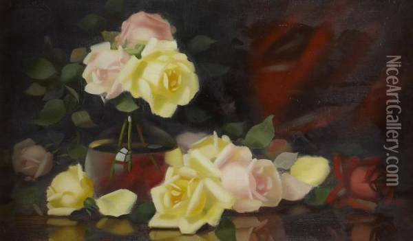Assorted Roses On A Table Oil Painting - James Stuart Park
