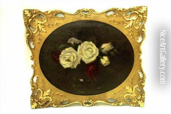 White And Red Roses Oil Painting - James Stuart Park
