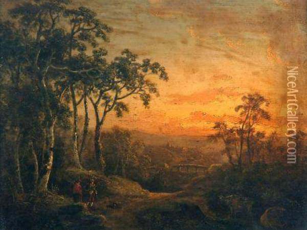 Travellers In Sunset Landscape Oil Painting - Abraham Pether